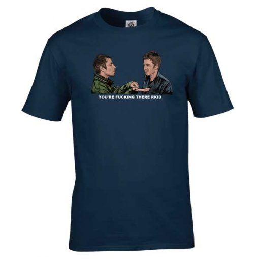 The Gallagher Brothers x Dead Mans Shoes T-Shirt drawn by Mark Reynolds. It features Liam Gallagher and Noel Gallagher with a Dead Mans Shoes twist.