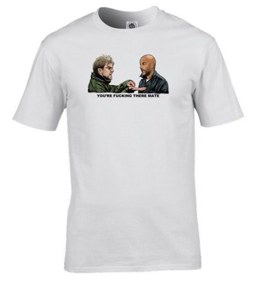 urgen Klopp vs Pep Guardiola x Dead Mans Shoes T-Shirt drawn by Mark Reynolds.